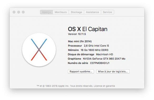 Mac Mini 2015 avec Geforce GFX 960 2Go - la classe!